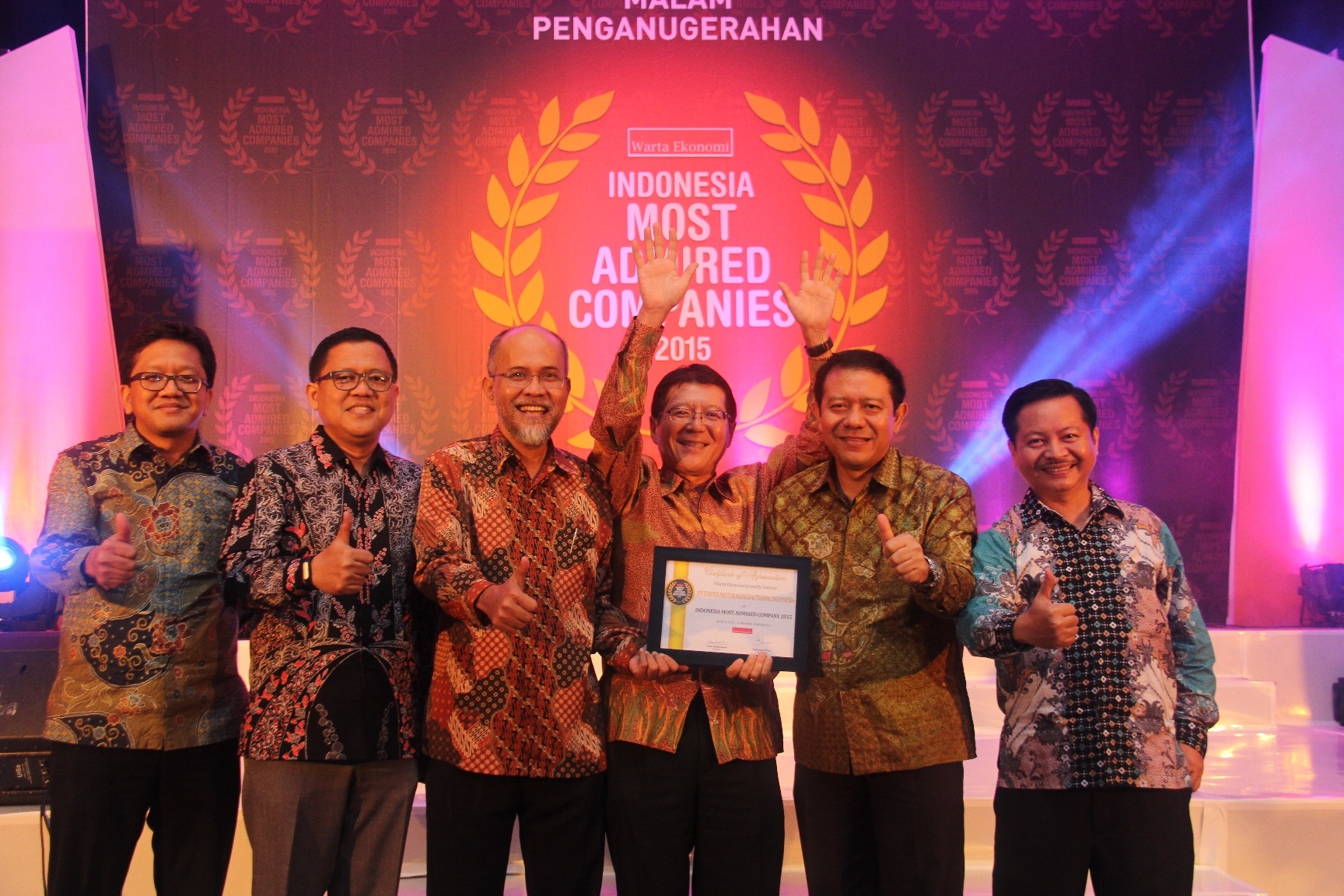 TMMIN as one of the 2015 'Indonesia Most Admired Companies 2015'
